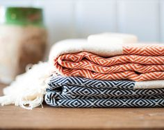 Cotton Turkish Towel Set of 2 Orange Black Bath di LongestThread, $45.00