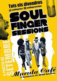 Carteles para fiestas musicales organizadas por las Soul Finger Sessions de Barcelona en el Marula Café. Rock Roll, Soul Funk, Rhythm And Blues, Reggae, Barcelona, Movie Posters, Theatre Posters, Musicals, Dancing