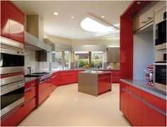 contemporary - kitchen - new york - Seifer Kitchen Design Center Kitchen Cabinet Colors, Kitchen Layout, Kitchen Colors, Kitchen Cabinets, Kitchen Ideas, Red Cabinets, Small Kitchen Redo, Hardwood Floors In Kitchen, Kitchen New York