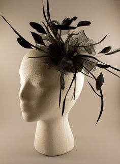 Black Feather and Crinoline Fascinator Headband by BelledeBenoir, $50.00