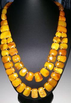 VINTAGE  ANTIQUE 1960c EGG YOLK  GENUINE BALTIC AMBER NECKLACE  #Handmade #Necklace
