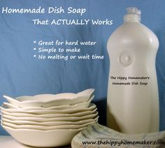 """This post has been a LONG time coming. I have been trying to find a recipe for dish soap that ACTUALLY worked, for at least a year now. I have tried just about every single diy all-natural """"crunchy..."""