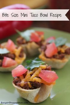 Looking for a bite size fun appetizer or party snack recipe?  Then check out this Mini Taco Bowl recipe. Not only are they tasty they are super cute too.  Plus they are easy to make. These would be great for any party!