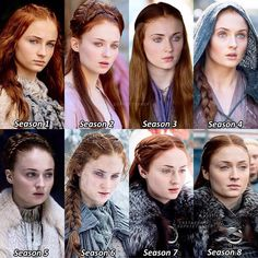 Comment your favorite season! - In honor of Game of Thrones final episode premiering tonight, here is Sansa throughout the… Comment your favorite season! - In honor of Game of Thrones final episode premiering tonight, here is Sansa throughout the… Game Of Thrones Bar, Game Of Thrones Sansa, Game Of Thrones Facts, Game Of Thrones Funny, Sansa Stark, Will Turner, Sophie Turner, Breaking Bad, Game Of Trones
