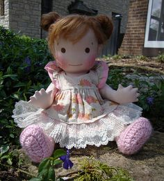 """Isla-14"""" Handmade jointed baby doll made with all natural materials by Mon Petit Frére."""