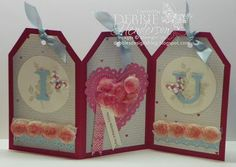 Stampin' Up! ... handmade Valentine card from Debbie's Designs: Card Folds ... triple tag format ... luv the decoration ... I (heart shape) U ... one letter per panel ... great card!