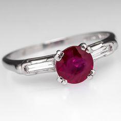 Vintage Ruby Engagement Ring Baguette Diamond Accents