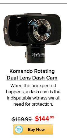 Komando Rotating Dual Lens Dash Cam