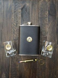 bullet flask, flask set, flask gift set, flask gift, shotgun shell shot glasses, Barware, Barware gifts, flask, bullet gifts, bullet gifts for men, bullet gift ideas,