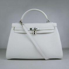 Hermes Kelly 32CM handbag bandoulière white argenté | top quality hermes…