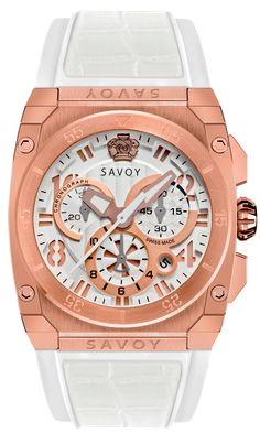 SAVOY WATCHES. ICON MIDWAY CHRONOGRAPH  ROSE GOLD CASE  WHITE STRAP & INSERTS. $1,050.00 Swiss Made Watches, Modern Watches, Chronograph, Rolex Watches, Rose Gold, Accessories, Clock, Bracelet, Ornament