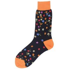 Black Small Flowers Socks by De Pio.