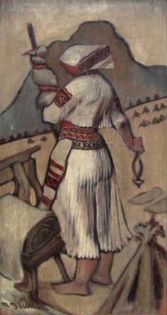 Martin Benka - Priadka z Čičmian 15th Century, Darts, Folklore, Fiber Art, Sheep, Turning, Graphic Art, Illustration Art, Tapestry
