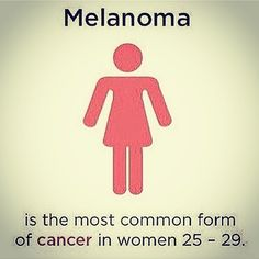 Melanoma is a cancer that begins in the melanocytes. Other names for this cancer including malignant melanoma and cutaneous melanoma. Most melanoma cells still make melanin so melanoma tumors are usually brown or black. But some melanomas do not make melanin and can appear pink tan or even white.  Melanomas can develop anywhere on the skin but they are more likely to start on the trunk (chest and back) in men and on legs in women. The neck and face are other common sites.  #melanoma…