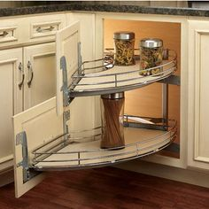 very cool... Great way to store things in a corner cabinet! Maple Blind Corner Unit #revashelf #kitchensource
