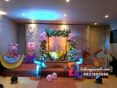 """Naming Ceremony Decoration or Cradle Ceremony Decoration planners, organizers, and decorators in Pune. Naming Ceremony is also known as """"Cradle"""" and in Marathi """"Barse"""" or """"Namkaran Sohala"""".Sukanya Events have tremendous naming ceremony decorations. Baby Shower Balloon Decorations, Indian Wedding Decorations, Baby Shower Balloons, Ceremony Decorations, Balloon Backdrop, Cradle Decoration, Naming Ceremony Invitation, Naming Ceremony Decoration, Indian Baby Showers"""