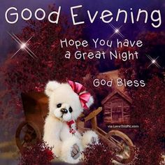 Good Evening, Hope You Have A Great Night. God Bless good evening good evening quotes evening quotes good evening images Good Evening, Hope You Have A Great Night. Good Evening Messages, Good Evening Wishes, Happy Evening, Evening Greetings, Good Night Greetings, Good Night Wishes, Good Night Quotes, Good Night Sleep Well, Good Night Everyone