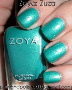 Zoya nail polish, color Zuza a shimmering bright blue-green aqua color