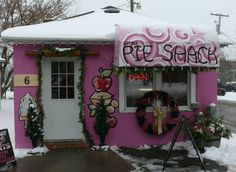 The Little Pie Shack all decked out for Christmas, and ready to take your orders, on Francis St. right behind The Kawartha Store, in Fenelon Falls, On.