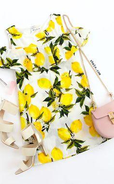 Open Shoulder Ruffled Lemon Print Dress - Yellow