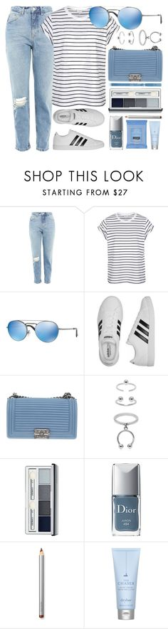 """""""Blurred Lines"""" by smartbuyglasses-uk ❤ liked on Polyvore featuring Topshop, adidas, Chanel, Maria Francesca Pepe, Clinique, Christian Dior, Laura Mercier, Neutrogena, Drybar and Blue"""