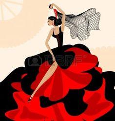 bailando flamenco: sobre fondo abstracto es bailarina española en rojo-negro vestido Vectores