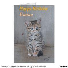Emma, gatinho art. do feliz aniversario cartão comemorativo