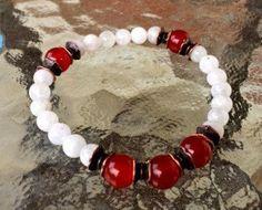 8mm Moonstone Carnelian Wrist Mala Beads by AWAKENYOURKUNDALINI