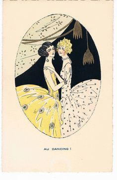 "kittyinva: ""Kittyinva: 1920's French postcard, Au Dancing! """