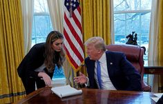 PHOTO: President Donald Trump confers with White House Communications Director Hope Hicks during an interview with Reuters at the White House, Jan. 17, 2018.