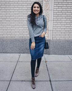 Happy Friday Y'all! #winterootd . . This denim skirt sold out @shopdarlingstyle but we have it available in a lighter denim color.