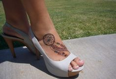 Dream catcher tattoo, love it on the foot, or to go on the wrist.
