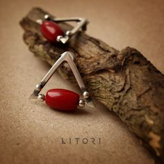 PIROS - silver earrings with coral by Litori by litori on DeviantArt