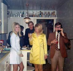House party in 1968 late vintage fashion style mini dress yellow white cocktail wrap hair men women suit found photo print Vintage Party, Retro Vintage, Retro Baby, Vintage Vibes, Vintage Glamour, Mad Men, Vintage Photographs, Vintage Photos, 1960s Fashion