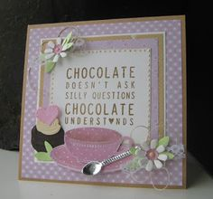 Handmade card by DT member Boukje with Collectables Set Chocolate Doesn't Ask (COL1365), Craftables Tea Cup and Spoon (CR1238) and Flower Set Sweet (CR1358) from Marianne Design