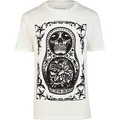 Ecru russian doll tattoo print t-shirt