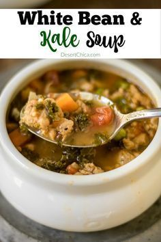 This White bean and Kale soup is super yummy, no one will complain about eating their veggies when you make it for dinner.  via @DesertChica