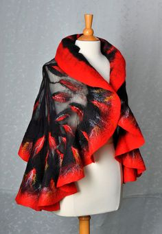 Nuno felted shawl / wrap / merino wool / mulberry silk / hand felted / red / wearable art. $140.00, via Etsy.
