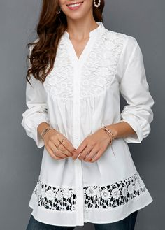 Crochet Detail Button Front Split Neck White Blouse | modlily.com - USD $29.25 The Office Shirts, White Lace Blouse, Shirt Blouses, Blouses For Women, Tunic Tops, Clothes, Female Clothing, Long Sleeve, Fashion Women