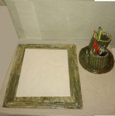 Risque e rabisque: organizador de papel. <br>Material:jornal