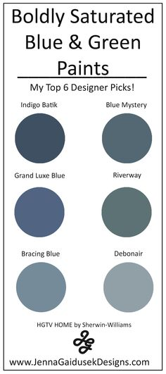 My Top 6 Bold Blue and Green Paint Colors- Best Accent Wall Paints Oil Painting sherwin williams oil based paint Lowes Paint Colors, Hallway Paint Colors, Bedroom Paint Colors, Paint Colors For Living Room, Blue Green Paints, Green Paint Colors, Warm Colors, Bold Colors, Blue Grey Paint Color