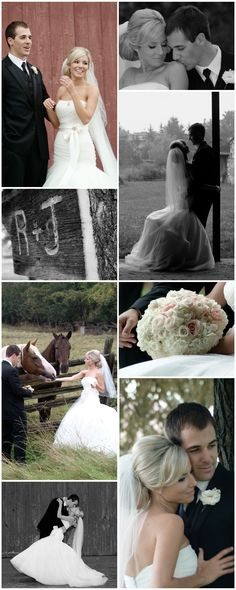 country wedding photo options in a natural setting, Romona Keveza bridal gown, dropped waist dress, big bun updo hair, rose ball bouquet, horses, black and white, picture collage