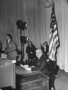 President Harry S. Truman Preparing to Make the Announcement of Cease-Fire on V-E Day