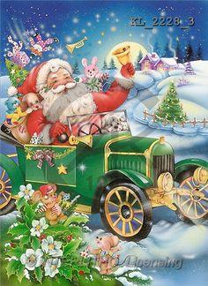 Interlitho, Michele, CHRISTMAS SANTA, SNOWMAN, paintings, santa, green car(KL2228/3,#X#) Weihnachtsmänner, Schneemänner, Weihnachen, Papá Noel, muñecos de nieve, Navidad, illustrations, pinturas