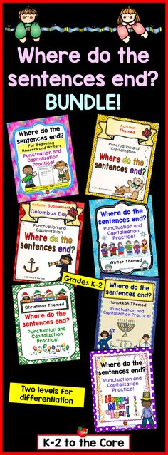 This NO PREP Punctuation and Capitalization Bundle contains lots of engaging, differentiated, seasonal practice for your students. You'll be giving your boys and girls sentences with no punctuation or capitals. Their job is to figure out where the sentences end, edit the sentences, and then rewrite them with correct capitalization and punctuation, as well as neat handwriting.
