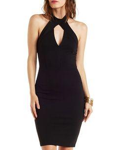 Ponte Knit Mock Neck Halter Dress with Cut-Out - Black