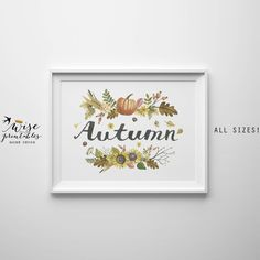 ★ AUTUMN ★ feel the taste of hot cacao and sunny orange pumpkins, smell falling leaves, and cold air! It's a cozy sweater weather now! And harvest time wall art for the best time of the year...