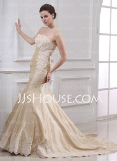 Wedding Dresses - $191.99 - Mermaid Strapless Court Train Taffeta Wedding Dress With Ruffle Lace Beadwork (002000059) http://jjshouse.com/Mermaid-Strapless-Court-Train-Taffeta-Wedding-Dress-With-Ruffle-Lace-Beadwork-002000059-g59