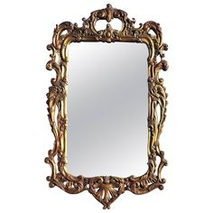 19th Century Rectangular French Rococo Gilt Wall Mirror | From a unique collection of antique and modern wall mirrors at https://www.1stdibs.com/furniture/mirrors/wall-mirrors/