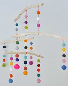 Felt Ball Mobile | 10 DIY Baby Mobiles - Tinyme Blog